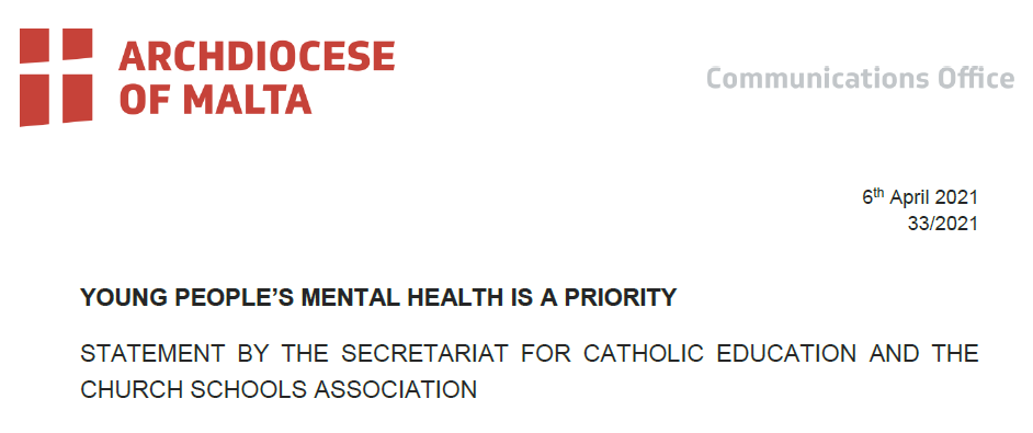 YOUNG PEOPLE'S MENTAL HEALTH IS A PRIORITY: STATEMENT BY THE SECRETARIAT FOR CATHOLIC EDUCATION AND THE CHURCH SCHOOLS ASSOCIATION